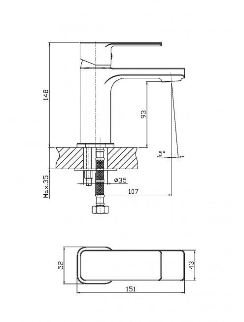Смеситель 1 Orange Plito M16-021cr для раковины