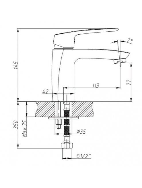Смеситель 1 Orange Sonic M08-021cr для раковины