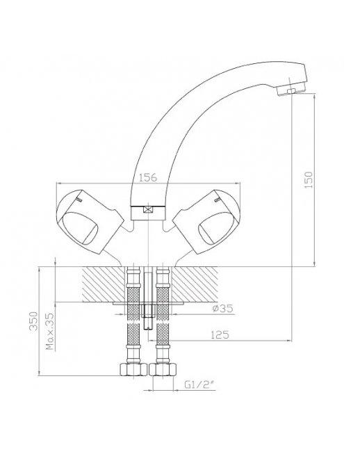 Смеситель 1 Orange Classic S M75-012cr для раковины