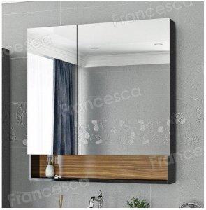 Шкаф-зеркало Francesca Doremi 80, черный/ясень