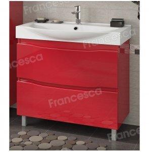 Тумба с раковиной Francesca Forte 85 напольная красный (2 ящика, ум. Элвис 85)