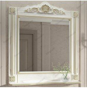 Зеркало Венеция Аврора 85 белый с патиной золото