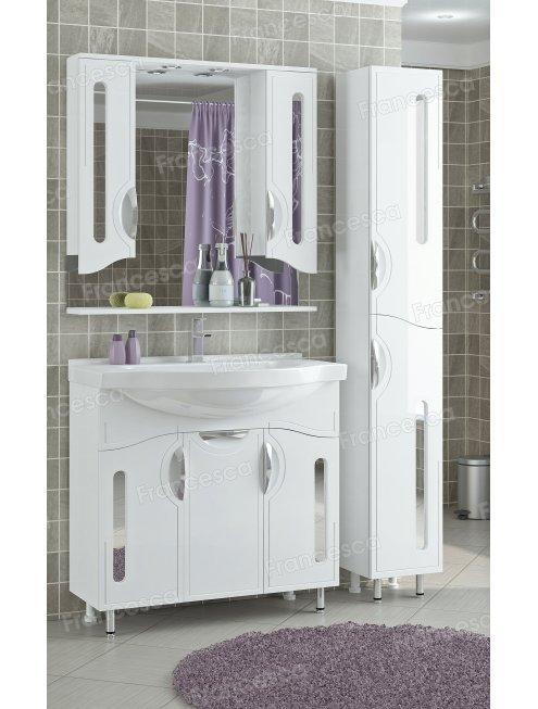 Зеркало-шкаф Francesca Инфинити 90 2С белый 2 шкафа