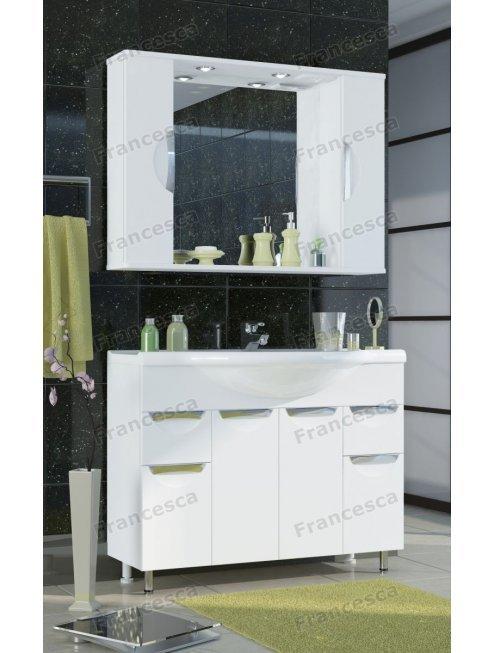 Шкаф-зеркало Francesca Доминго 100 белый 2 шкафа