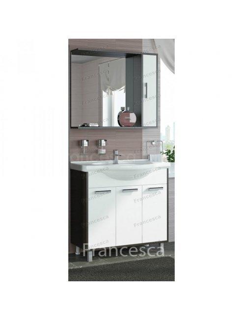 Шкаф-зеркало Francesca Eco 85 белый-венге