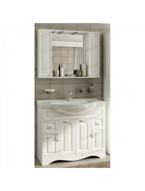 Шкаф-зеркало Francesca Империя 105 белый (2 шкафа)