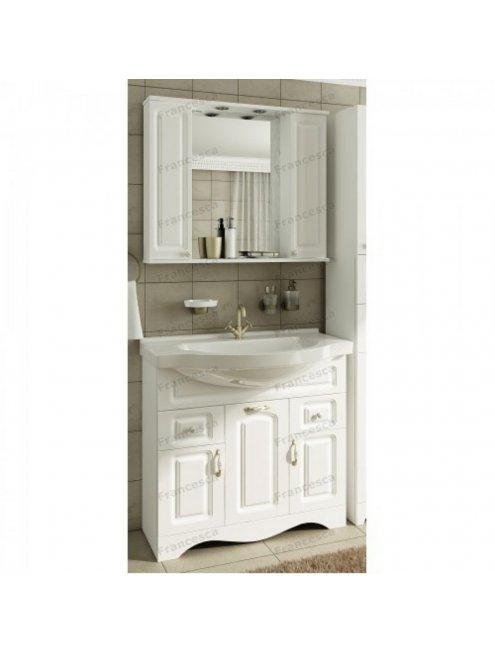 Шкаф-зеркало Francesca Империя 90 2 шкафчика белый