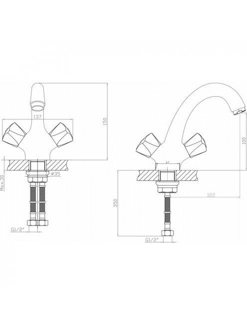 Смеситель Agger Retro-S A1802100 для раковины