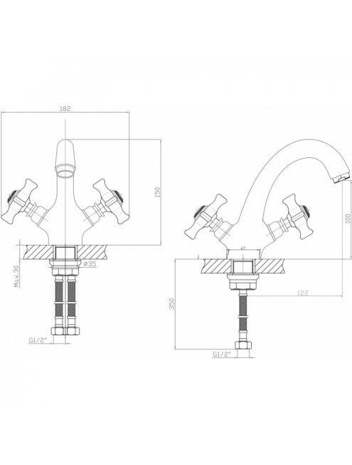 Смеситель Agger Retro-X A1702100 для раковины