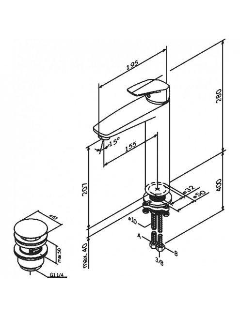 Смеситель AM.PM Gem F9092200 для раковины, с донным клапаном