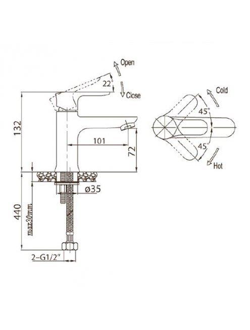 Смеситель BelBagno Reno REN LVM25 CRM для раковины