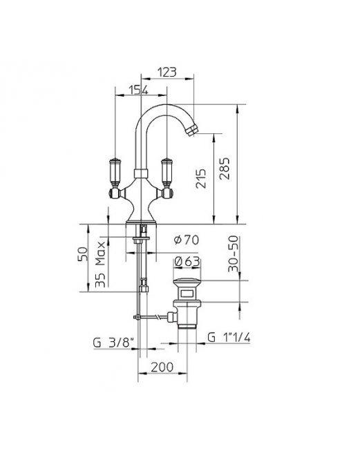 Смеситель Bossini Liberty Z001301 BR для раковины