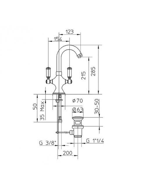 Смеситель Bossini Liberty Z001301 ORO для раковины