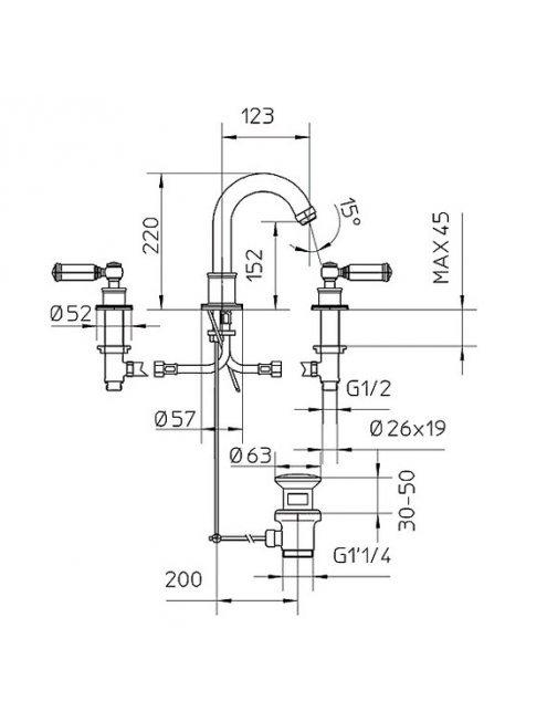 Смеситель Bossini Liberty Z001302 BR для раковины