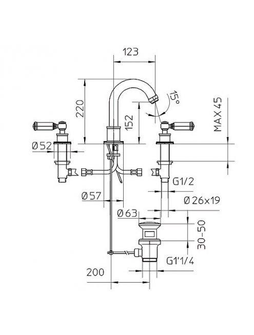 Смеситель Bossini Liberty Z001302 CR для раковины