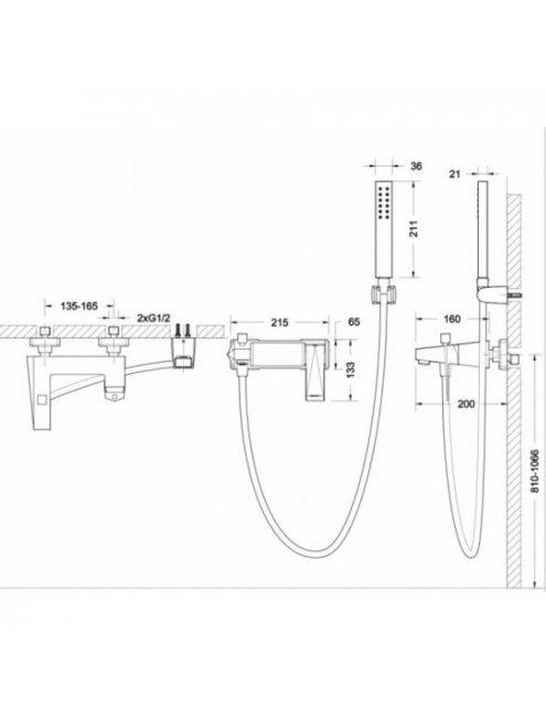 Смеситель Bravat Iceberg F676110C-B-RUS для ванны с душевым гарнитуром