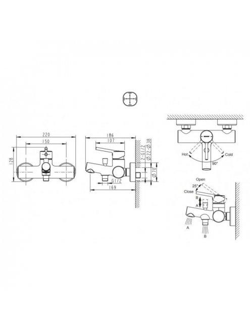Смеситель Bravat Palace F6172217CP-01-RUS для ванны