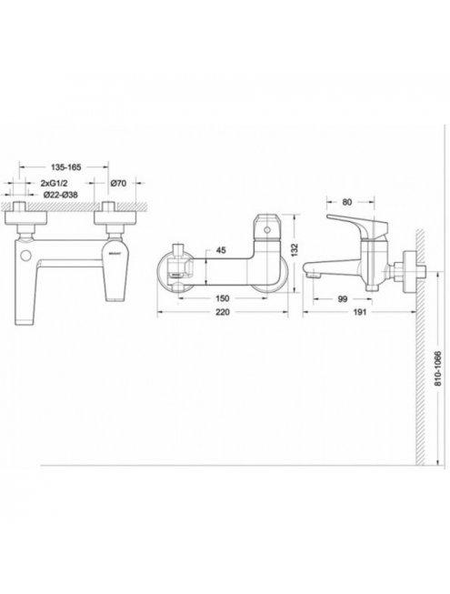 Смеситель Bravat Vega F6119177CP-01 для ванны