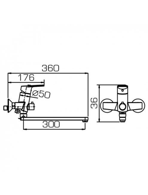 Смеситель Bravat Line F65299C-1L универсальный