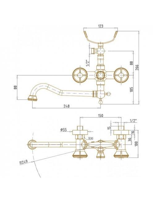 Смеситель Bronze de Luxe 10119D универсальный