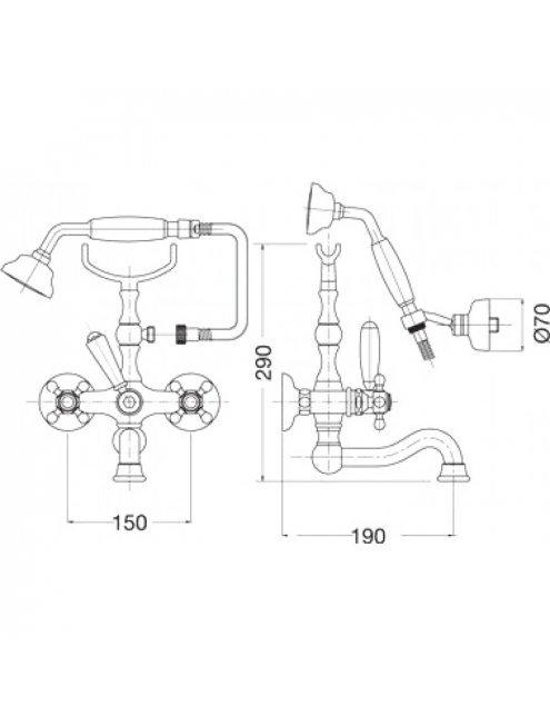 Смеситель Bugnatese Arcadia 8302CR для ванны с душем, хром