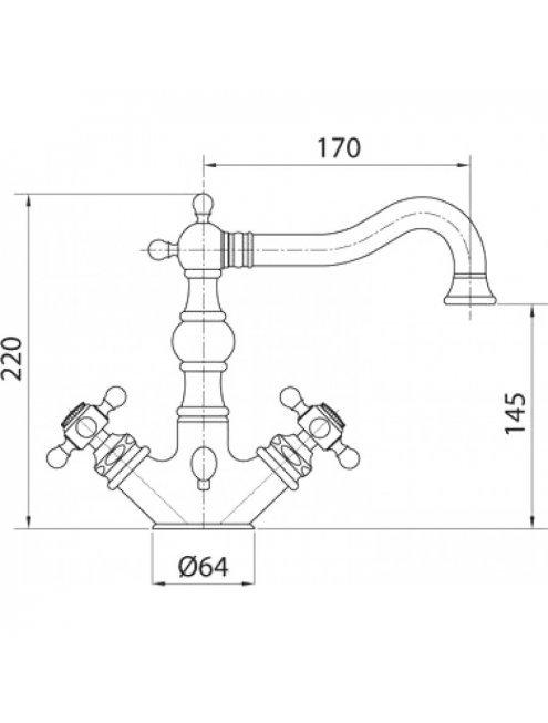 Смеситель Bugnatese Arcadia 8334CR для раковины, с донным клапаном, хром