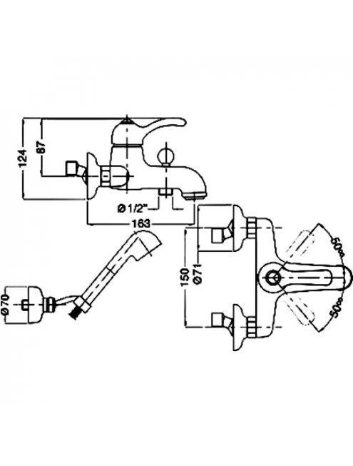 Смеситель Bugnatese Lem 1902BR для ванны с душем, бронза