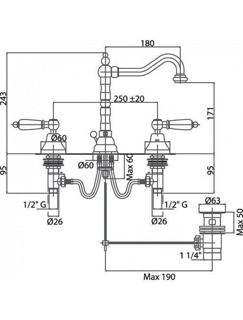 Смеситель Caprigo Adria Classic 03-021-crm для раковины
