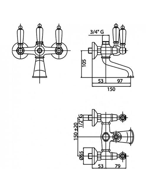 Смеситель Caprigo Adria Classic 03-019-crm для ванны с душем