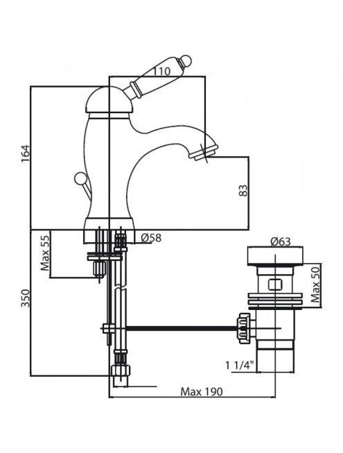 Смеситель Caprigo Adria Uno 02-020-crm для раковины, с донным клапаном