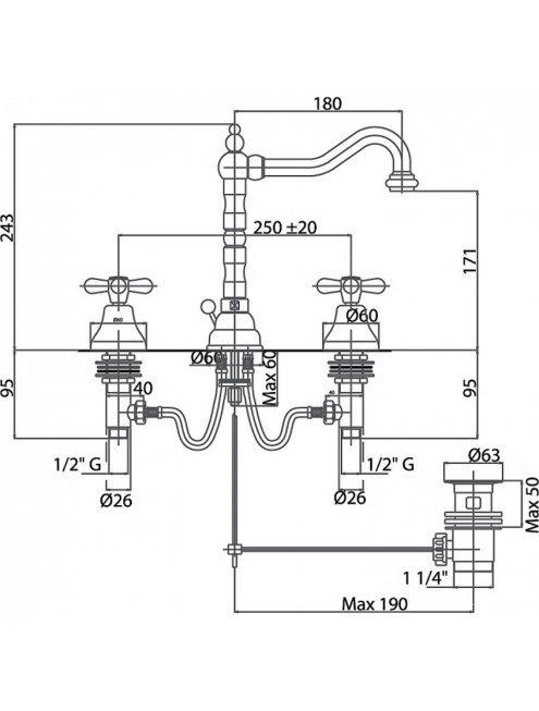 Смеситель Caprigo Bristol 21-021-crm для раковины