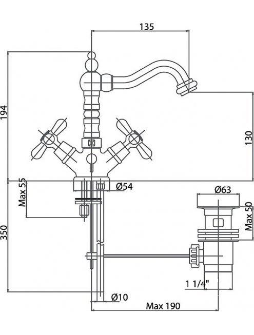 Смеситель Caprigo Bristol 21-026-crm для раковины