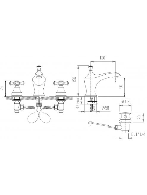 Смеситель Caprigo Monarch 41-021-oro для раковины, с донным клапаном