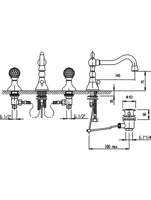 Смеситель Cezares Atlantis ATLANTIS-BLS2-01-Sw для раковины