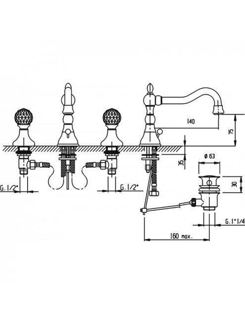 Смеситель Cezares Atlantis ATLANTIS-BLS2-02-Sw для раковины