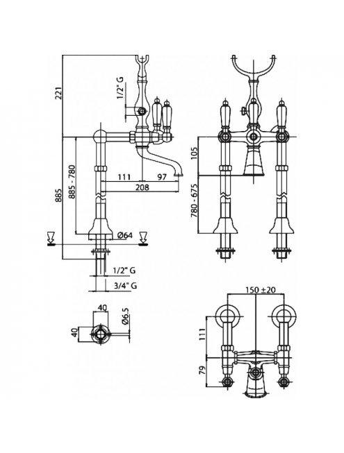 Смеситель Cezares First FIRST-VDP-01-Bi напольный
