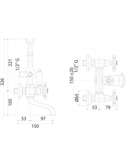 Смеситель Cezares Golf VD 03/24 Bi для ванны с душем