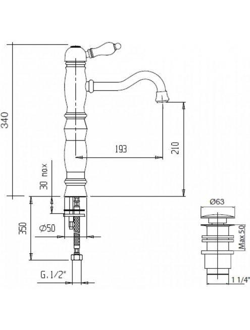 Смеситель Cezares Venezia VENEZIA-LSM1-A-03/24-Bi для раковины