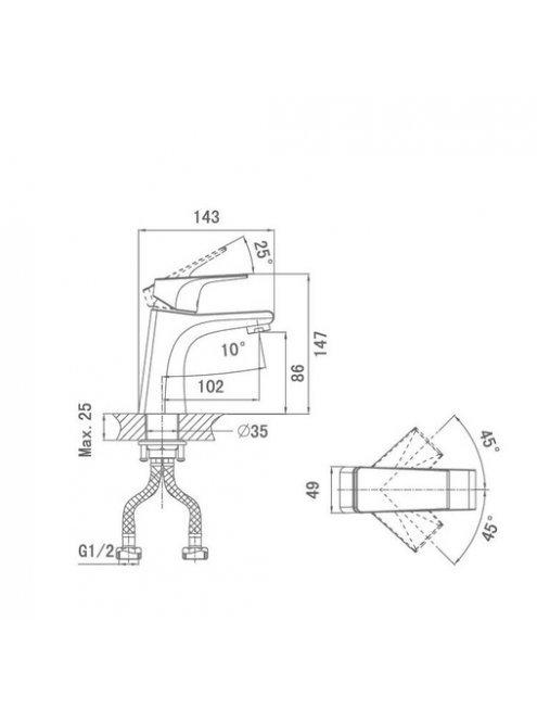 Смеситель D&K Hertz Rhein DA1292101 для раковины