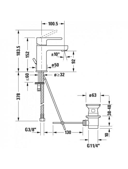 Смеситель Duravit B.2 B21010001010 для раковины