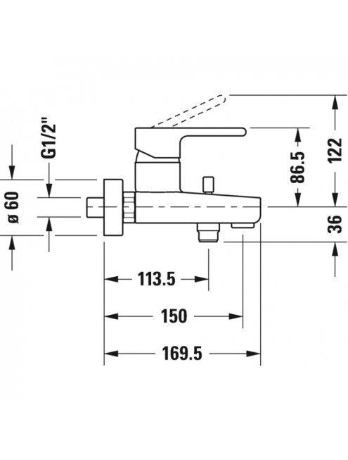 Смеситель Duravit B.2 B25230000010 для ванны с душем