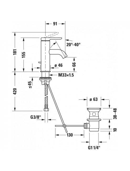 Смеситель Duravit C.1 C11010001010 для раковины