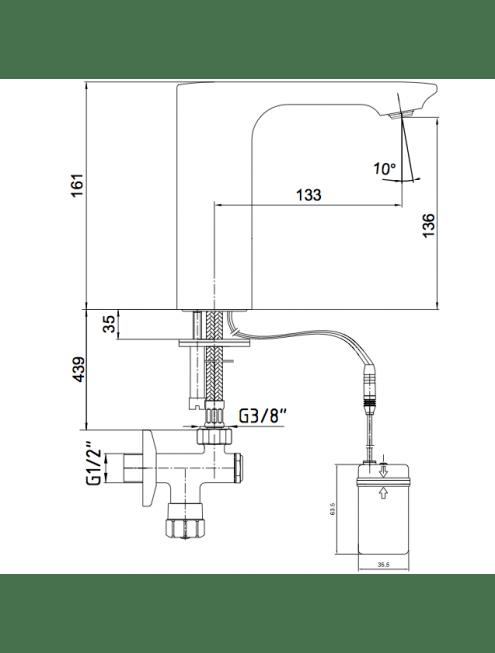 Смеситель E.C.A. Photoscell 108108037EX для раковины