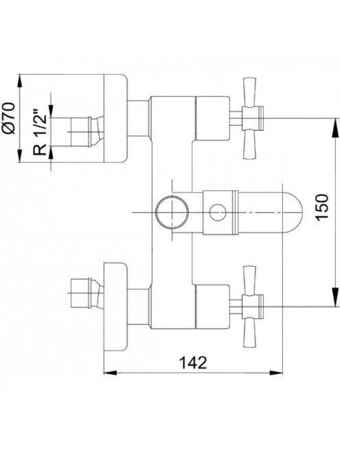 Смеситель E.C.A. Quattro 102102230 для ванны с душем