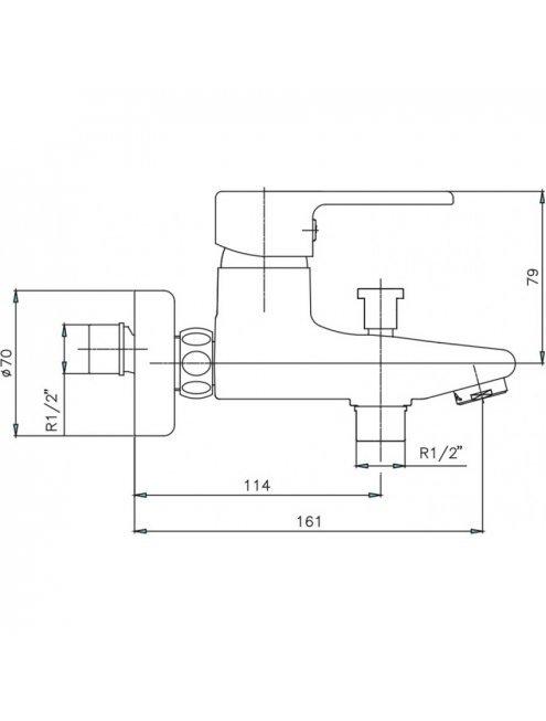 Смеситель E.C.A. Vera 102102386 для ванны с душем