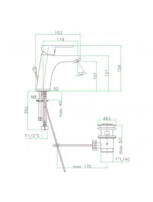 Смеситель Fiore Kevon 81CR8123 для раковины
