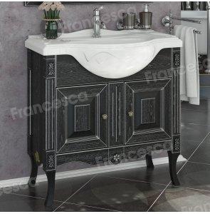 Тумба с раковиной Francesca Леонардо 85 черный, патина серебро