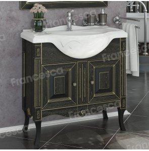 Тумба с раковиной Francesca Леонардо 85 черный, патина золото