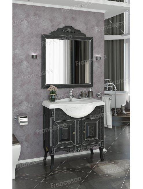 Зеркало Francesca Леонардо 85 черный, патина серебро