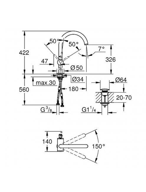 Смеситель Grohe Atrio New 32647DC3 для раковины